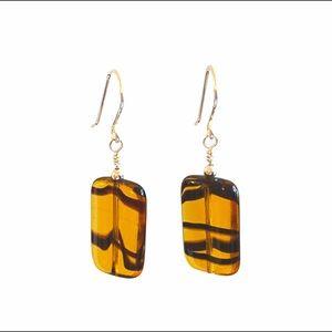 Glass Tortoiseshell Pattern Earrings NEW handmade